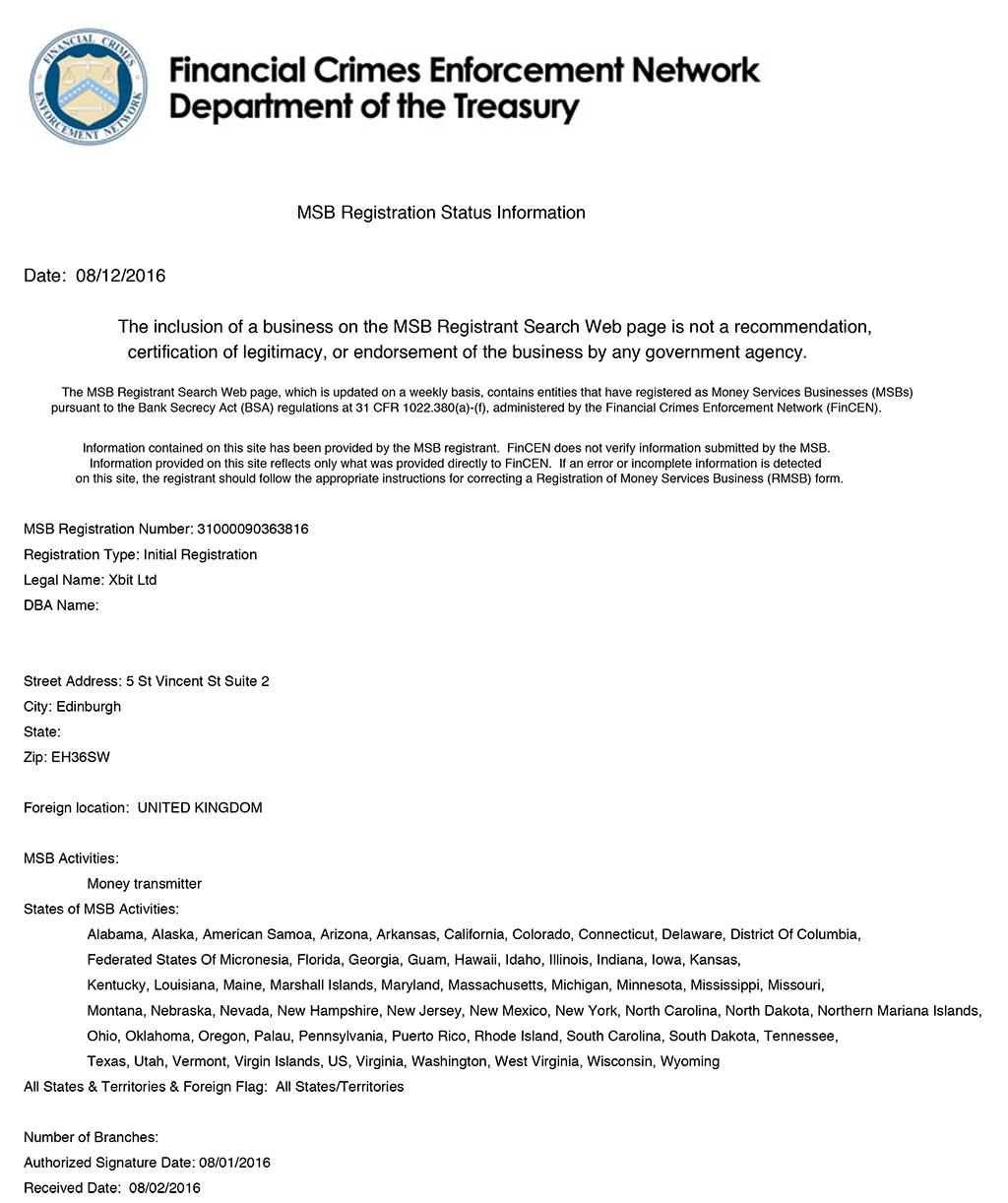 Under License Of Ifsc Belize And Fincen Msb Registration